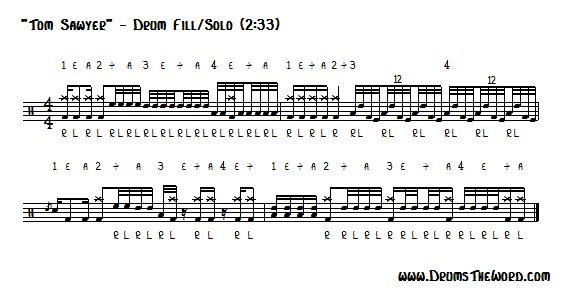 Free Drum Lesson Tom Sawyer Drum Solo Rush Neil Peart Drumstheword Online Video Drum Lessons Drum Sheet Music Drums Sheet Drum Lessons