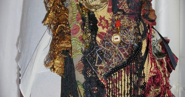 Victorian Gypsy Purse handmade unique and OOAK. A tapestry fabric bag embellished with beads, buttons and fringe by Dede
