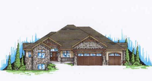 Craftsman style house plans open floor plan split for Craftsman style open floor plans