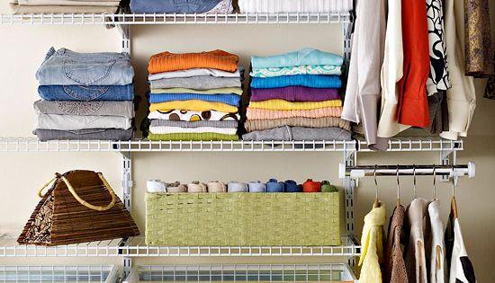 Organizando closet ou arm rio closet cestas e suporte - Construire dressing pas cher ...