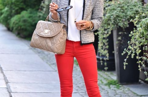 Tweed Jacket w color jeans