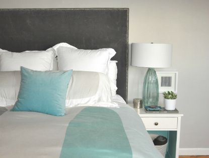 turquoise gray white bedroom | Playing House | Pinterest | Pop of ...