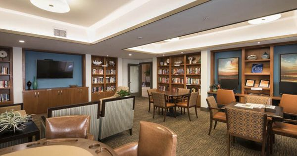 Library At The Patrician A Merrill Gardens Community In San Diego Ca Senior Living Design Senior Living Interior Design Senior Living Facilities