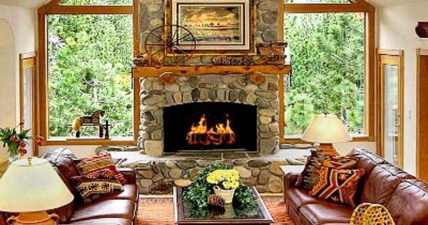 Tropical Living Room With Country Rubble Stone Veneer Carpet French Doors High Ceiling Fireplace