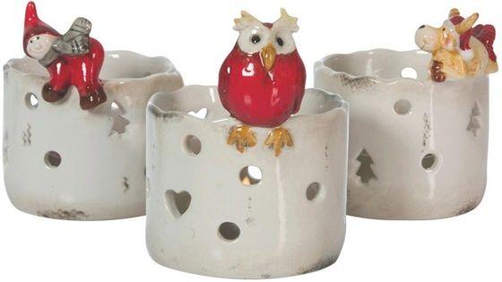 Weihnachtliche lichterspiele teelichthalter aus keramik for Weihnachtliche gartendekoration