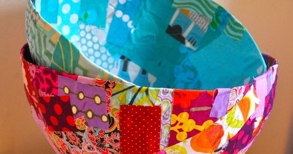 fabric scraps, paper mache, balloons