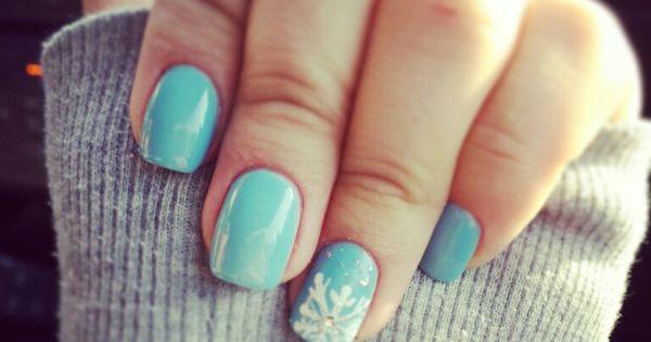 Opi Light Blue Snowflake Nails Gel Color Opi Winter Nails Nail Art Light Blue Bright