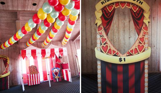 Carnival theme with a kissing booth..