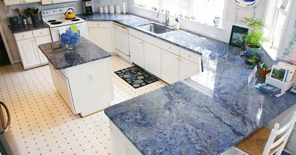 architecture living lifestyle interior design Blue Kitchen Cabinets Granite Countertop Blue Granite Countertops Colors