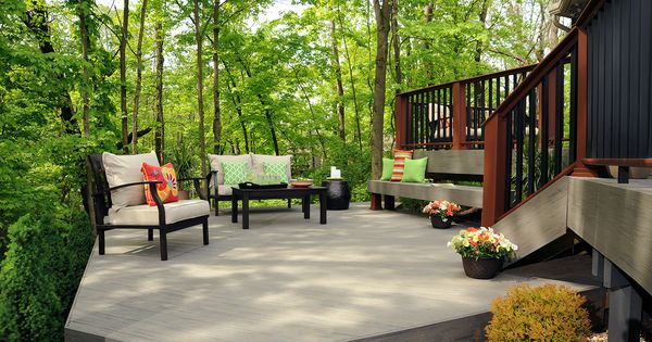 Timbertech terrain decking collection in silver maple with Terrain decking