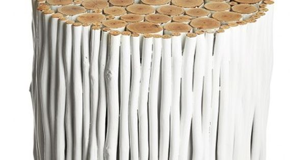 rondin stool calypso st barth 39 s painted reclaimed wood sticks are gathered to create this