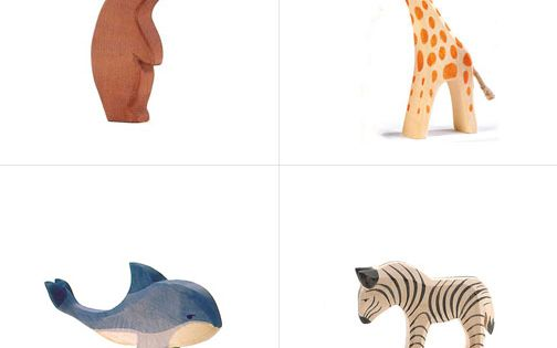 Painted wooden toys are pretty darn cute, too. I wouldn't mind these