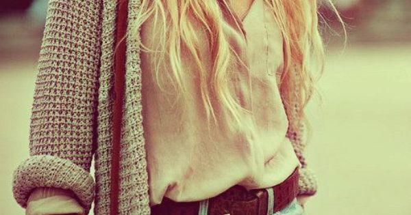 Cut off jean shorts, cream button down, long chunky knit cardi, whiskey
