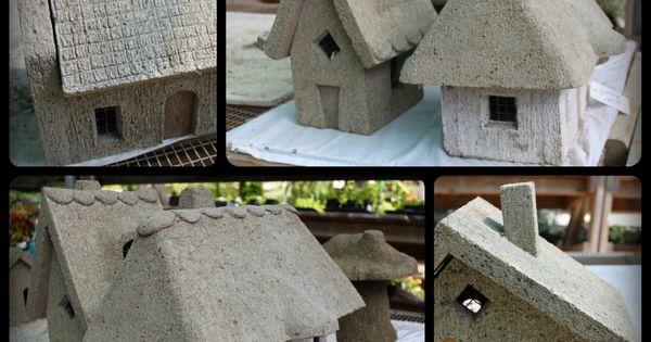 DIY Hypertufa fairy houses tutorial