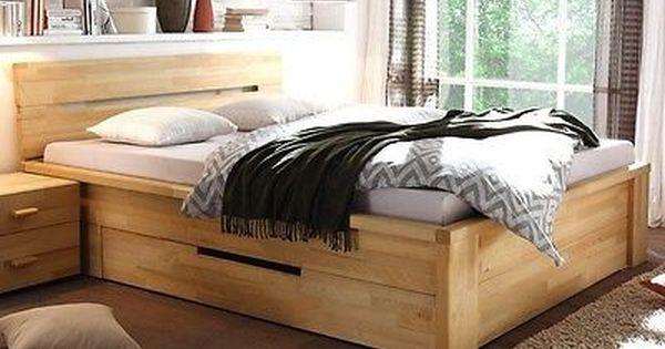 Massivholzbett Bett 180x200 Kernbuche Geolt Stauraumbett Doppelbett Caspar Home Furniture Furniture Home