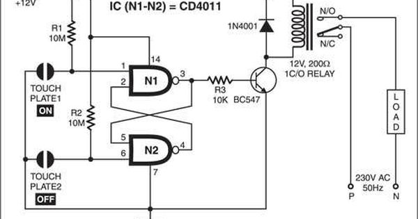 Simple Touch Sensitive Switch Detailed Circuit Diagram Available Circuit Diagram Electronics Circuit Circuit