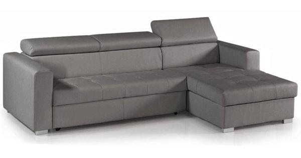 Chaise longue sof cama toledoxl piel ecologica gris l28 - Sofa piel gris ...