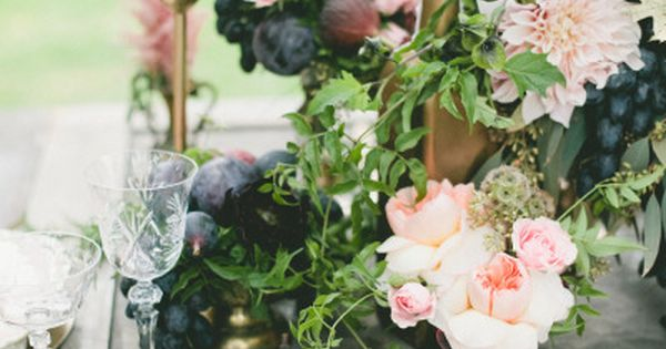 incorporation of fruit into centerpieces on farm tables. Gallery & Inspiration |