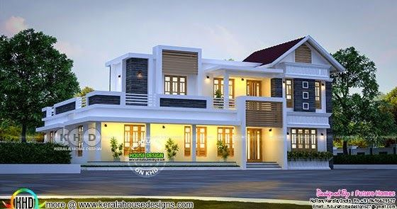 Mix Roof Home By Future Homes From Kollam In 2020 Traditional House Plans Kerala House Design House Designs Exterior