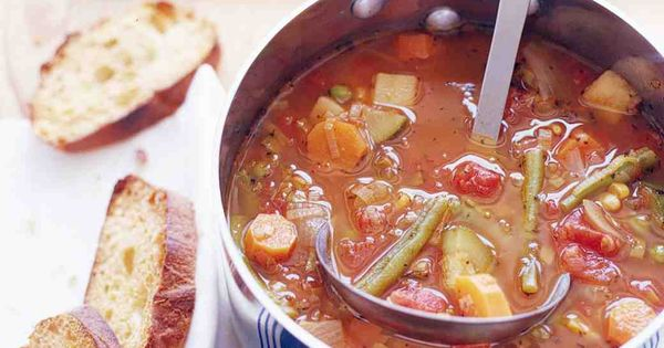 Vegetable Soup Recipe using chicken broth, crushed tomatoes, frozen veggies, minced garlic,