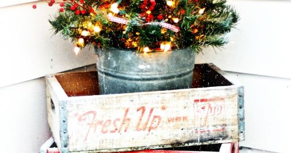 "Vintage Decor - old ""pop"" crates stacked to hold tiny tree -"