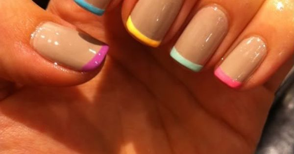 Nude Nails with Pastel French Tips | BeautyTipsnTricks.com