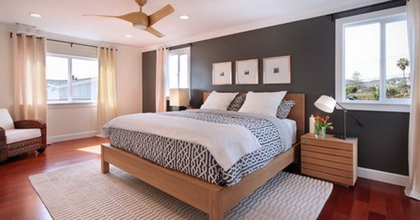 Natural Grey Wall Decoration And Classic Oak Bed Furniture