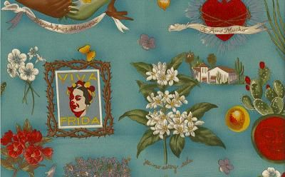 Alexander Henry Viva Frida Blue Fabric Floral Upholstery Fabric