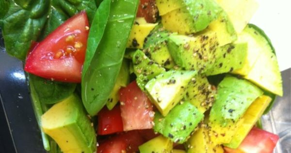 Baby spinach avocado tomato lemon salt and pepper. Add some basil and