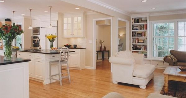 Open concept floor plans 2 story colonial before and after for Center hall colonial living room ideas