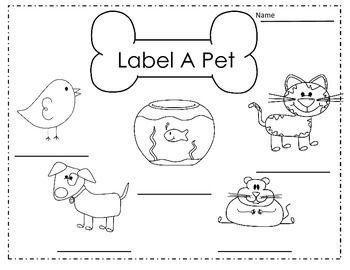 Labeling And Sentence Writing About Pets In Kindergarten Pets Preschool Kindergarten Pictures Labeling Kindergarten