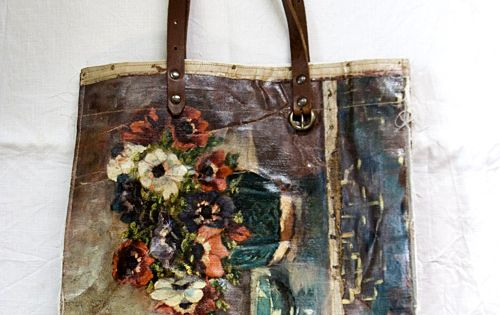 This is painted art canvases sewn together to make a tote.***M.M. ALL