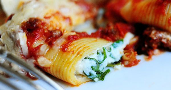 Three Cheese-Stuffed Shells with Meaty Tomato Sauce | Food, Reciepes ...