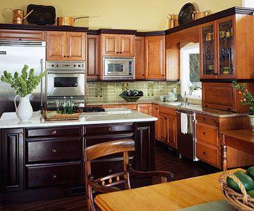 Contrasting Kitchen Islands Trendy Kitchen Backsplash Kitchen Decor Dark Cabinets Kitchen Design