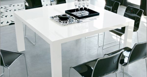 Modern Square Dining Table In Glossy White Modern Square Dining