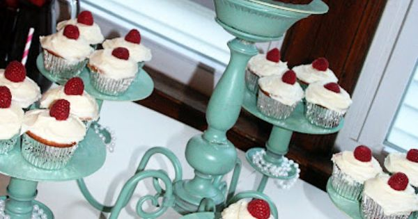 Chandelier used as a creative cupcake plate!! Love this!