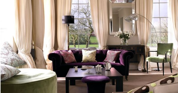 Purple And Green Together New Living Room Ideas