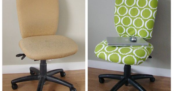 How to reupholster a computer rolling chair. Fabric, pliers and a staple