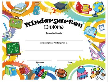 Kindergarten Diploma Graduation Certificate Template Preschool Diploma Preschool Certificates