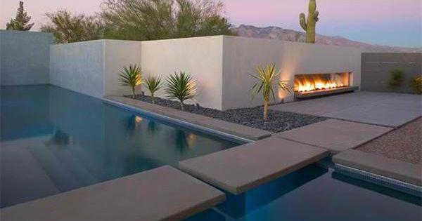 15 beispiele für eine wirkungsvolle feuerstelle im poolbereich, Garten und erstellen