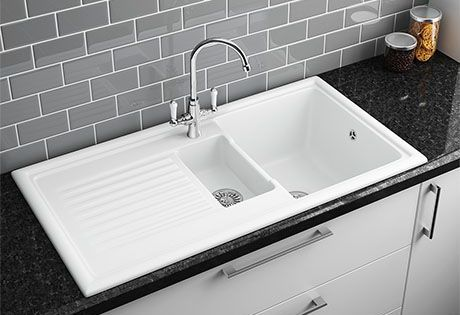 Reginox White Ceramic 1 5 Bowl Kitchen Sink At Victorian Plumbing Uk 3holekitchentaps White Ceramic Kitchen Sink Ceramic Kitchen Sinks White Kitchen Sink