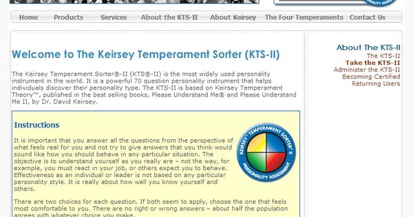 """the keirsey temperament sorter identifying the personality of an individual Understanding the keirsey temperament sorter by laura chang, ma, lpc 
