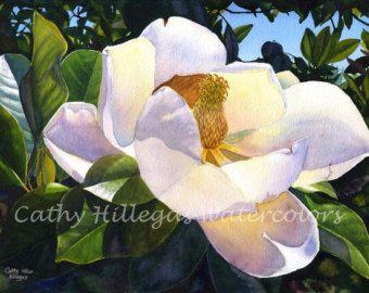 White Magnolia Art Watercolor Painting Print By Cathy Etsy Floral Watercolor Floral Watercolor Paintings Tree Watercolor Painting