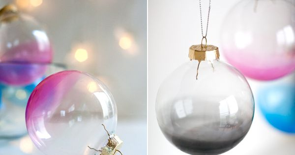 Krylon Holiday DIY: ombre glass ornaments