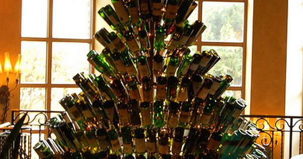 Wine Bottle Christmas Tree -hey now you have a new craft lol