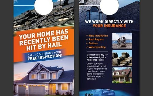 Grab My Attention With A New Door Hanger For Baker Roofing Most Of Our Business Is Insurance Restoration From Storm Dam Roofing Roof Repair Marketing Postcard