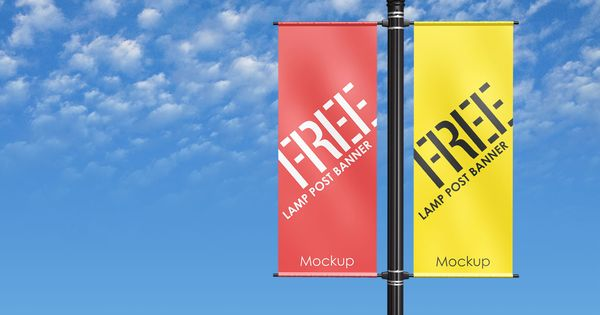 Free Outdoor Advertising Lamp Post Pole Banner Mockup Psd