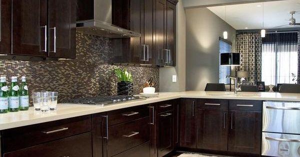 Espresso cabinet; light floor; grey wall color