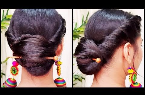 Quick Indian Bun Hairstyle For Navratri Party Hairstyles For Medium Long Hair Indian Hairstyles Youtube Hair Styles Bun Hairstyles Party Hairstyles