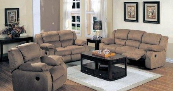 Belmont Saddle Microfiber 3 Pc Reclining Living Room Set By Coaster Home Furnishings 2399 00 Pillow Top Seat Living Room Sets Sofa And Loveseat Set Recliner